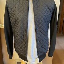 Zara Man Mens Quilted Front Knit Moto Biker Black Jacket Size 38 Photo