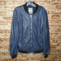 Zara Man Navy Blue Men's Size Large Perforated Faux Leather Bomber Jacket Photo