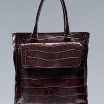 Zara Mens Crocodile Fancy Shopper Bag Burgundy Brown Case New (Cow Leather) Photo