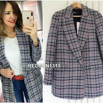 Zara Navy/red/ecru Check Tweed Double-Breasted Blazer Jacket Size Xs Photo