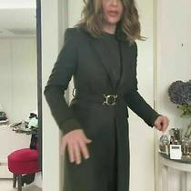 Zara New Billiard Green Belted Woo Blend Coat With Buckle 8687/744 Medium M Photo