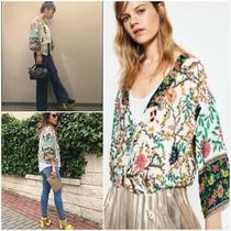 Zara Nwot Floral Bird Print Kimono Zip Bomber Jacket New Size Xs Photo