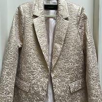Zara Nwot Jacquard Gold Metallic and Blush Blazer Size S Stunning and Unique Photo