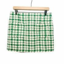 Zara Nwot Knit Plaid Mini Skirt Green White Sz L Photo