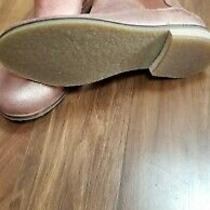 Zara Nwt Girls Real Leather Bootie Color Rose Gold Size Us 2/eu 34 Photo