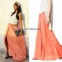 Zara Nwt Light Orange Long Silk Satin Skirt Size Xs Photo