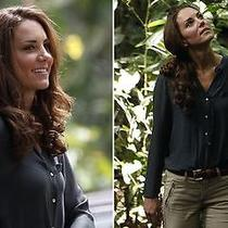 Zara Olive Shirt Long Sleeve Aso Princess Kate Cambridge Middleton Sz Xs Photo
