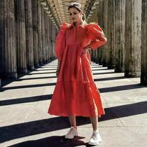 Zara Orange Dress With Cutwork Embroidery Size L Photo