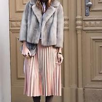 Zara Pale Pink Nude Blush Accordion Pleated Skirt Size Small  Photo