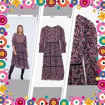 Zara Pink Floral Printed Midi Dress Size Xl Rrp 49.99  Photo