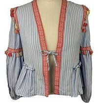 Zara Pom Pom Jacket Top Blue White Striped Balloon Sleeve Size Small Sold Out Photo
