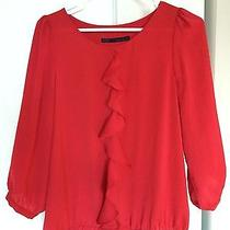 Zara Red Ruffle Blouse Photo