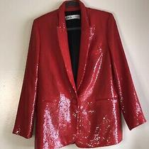 Zara Red Sequin Blazer Photo
