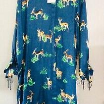 Zara Satin Blue Dress Deer Print With Belt Size Xl 16-18 Bnwt Photo