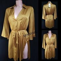 Zara Satin Dress Sizes S-M-L Belted Mustard  Bnwt Easter Spring Summer Photo