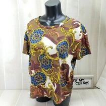 Zara Shirt Womens Medium Baroque Tee Gold Leaf Brown Tan Short Sleeve Top Boxy Photo