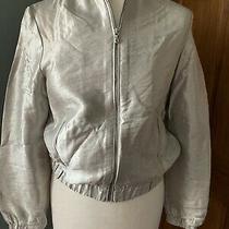 Zara Silver Bomber Jacket Size Xs Photo
