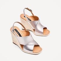 Zara Silver Jute Wedges Shoes Size 3 Photo