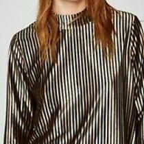 Zara Striped Smooth Textures Metallic Green Yellow Black Top Size M-L Photo