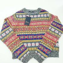 Zara the Knitwear Collection Sweater Cropped Sz Small Nwt Geometric Print Photo
