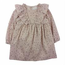 Zara Toddler Girls 3-4 Y Blush Pink Black Dot Ruffle Lined Dress 3t 4t Easter Photo