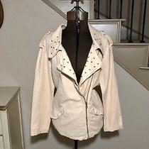 Zara Trafaluc Blush Pink Studded Moto Jacket Linen Womens Size S Photo