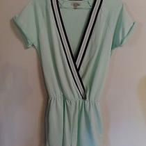Zara Trafaluc Fab Mint Green Pockets Varsity Cotton Romper  M Photo