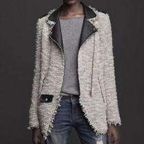 Zara Trafaluc Leather and Tweed Boucle Motorcycle Jacket Size Small Photo