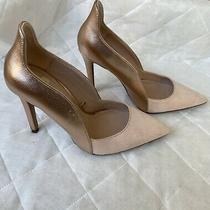 Zara Trafaluc Metalic Blush Suede Heels Size 7.5 Photo