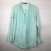 Zara Trafaluc Women Sheer Mint Long Sleeve 1/4 Button Down Hobo Tunic Top Small Photo