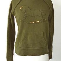 Zara Trf Army Green Rocking Horse Grommets Hoodie Sweater - M Photo
