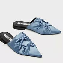 Zara Trf Women  Flat Gathered Mules Satin Sky Blue Pointed Toe Sz 37 7 Photo