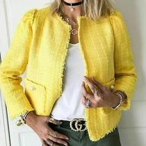 Zara Tweed Jacket Yellow Blazer Jacket Coat With Faux Pearl Size M New Photo