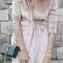 Zara Velvet Faux Wrap Crossover Knot Dress Sz L Nude Blush Pink Photo