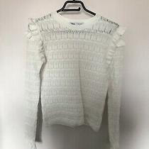 Zara White Victorian Ruffled Frill Sleeves Stretch Top Medium Size 10/12 Photo