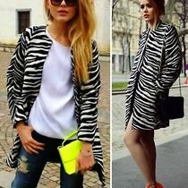 Zara Woman Coat Oversized Printed Jacquard Coat Blazer Jacket  New Photo