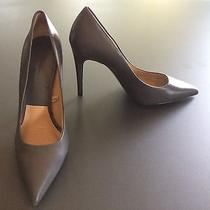 Zara Woman Gray Grey Leather Classic Pumps Heels Size Eu 38 Us 7.5 M Well Worn Photo