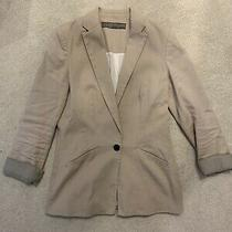 Zara Woman Pink Blush Linen Blend Blazer Jacket Size Medium - in Used Condition Photo