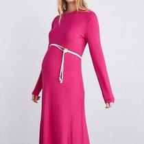 Zara Woman's Pink Ribbed Asymmetric Midi Dress Size Uk10/m Bnwt  Photo