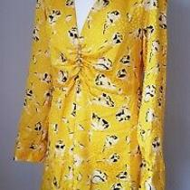 Zara Woman's Yellow Floral v-Neck Beautiful Buttons Mini Dress Size M Bnwt  Photo