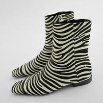Zara Woman Size 36 Us 6 Flat Animal Print Leather Ankle Boots Zebra 1130/610 New Photo