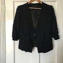 Zara Woman Size S Small Black Suit Jacket Rouched Sleeves.  (S15) Photo