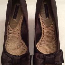Zara Woman Spardrile Dark Brown Satin Large Bows Peeptoe Wedges Shoes Sz 38 Photo
