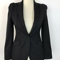 Zara Woman Sz Xs Blazer Jacket Black Buttons Pockets Padded Shoulders Lined Photo