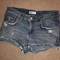 Zara Woman Trf Distressed Denim Shorts Size Small Photo