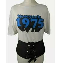 Zara Woman White T-Shirt With Corset New York 1975 Logo Short Sleeve Tee Small Photo