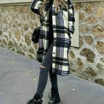Zara Women Hooded Plaid Check Overshirt Violet Long Jacket Size L 7522/246 Nwt  Photo