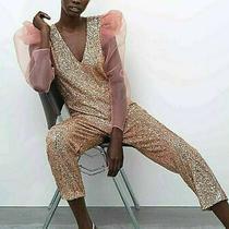 Zara Women Pink Sequinned Organza Jumpsuit New Tag Size S 8 Limited Bnib Photo