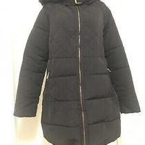 Zara Womens Black Padded Quilted Coat/ Jacket. Faux Fur Trim Hood. Sz M  (8) Photo