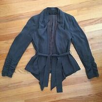 Zara Womens Open Draped Belted Blazer Gray Sz Small Photo